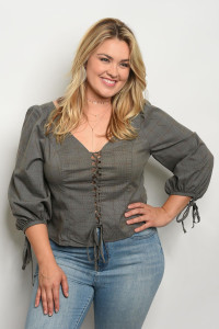 110-6-3-T21735X GRAY PLUS SIZE TOP 2-2-2