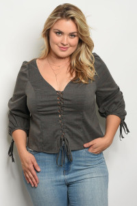 136-3-3-T21735X CHARCOAL PLUS SIZE TOP 1-2-2