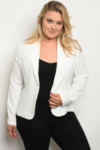 116-3-3-J262X WHITE PLUS SIZE BLAZER 2-2-2
