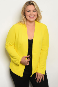 S4-8-5-B288X YELLOW PLUS SIZE BLAZER 2-2-2