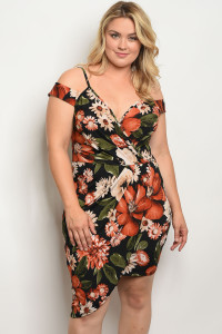C25-A-4-D1346X BLACK WITH FLOWER PRINT PLUS SIZE DRESS 2-2-2