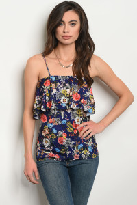 S4-7-4-T10013 NAVY FLORAL TOP 2-2-2