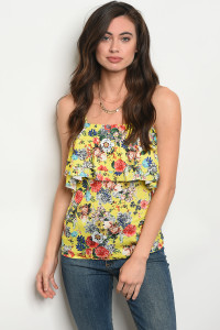 130-3-2-T10013 YELLOW FLORAL TOP 1-3-2