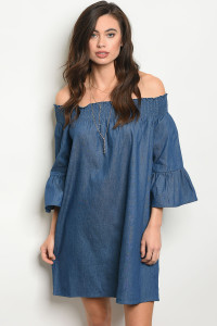 107-4-3-D2129 DARK BLUE DENIM DRESS 2-2-2