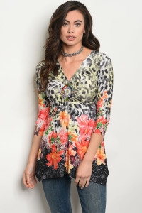 SA4-6-4-T10005 GRAY ORANGE FLORAL TOP 2-2-2