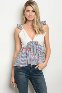 C75-B-3-T3525 WHITE NAVY WITH STRIPES TOP 2-2-2
