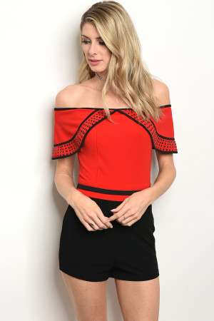 S17-7-5-R8077 RED BLACK ROMPER 2-2-2