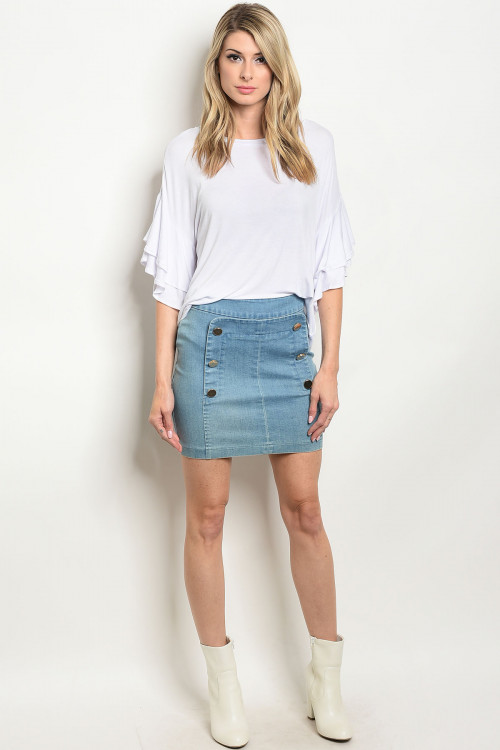 S18-4-1-S7064 LIGHT BLUE DENIM SKIRT 3-2-1