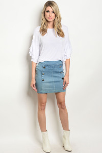 132-1-3-S7064 LIGHT BLUE DENIM SKIRT 2-1-1