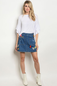 S13-10-3-S7032 BLUE DENIM SKIRT 3-2-1