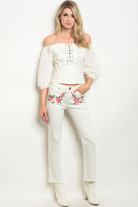 107-3-4-S8177 WHITE DENIM PANTS 3-2-1