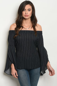 S4-7-5-NA-T1481 BLACK WITH STRIPES TOP 2-2-2