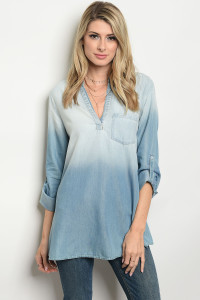 114-1-2-T4152 BLUE DENIM TOP 3-2-1