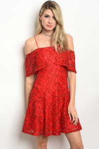 127-1-5-R224A RED LACE DRESS / 3PCS