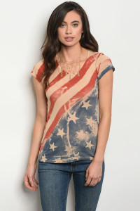 C81-B-2-T414 TAUPE AMERICAN FLAG PRINT TOP 2-2-2