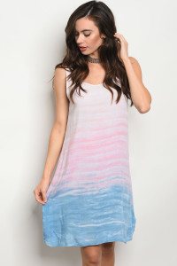 C81-A-5-D50809 PINK BLUE TIE DYE DRESS 2-2-2