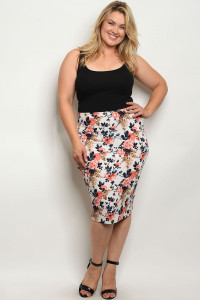 C27-B-3-S1088X IVORY FLOWER PLUS SIZE SKIRT 2-2-2