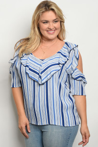 C30-B-1-T1591X WHITE BLUE STRIPES PLUS SIZE TOP 2-3-1