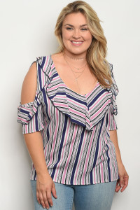 C23-B-2-T1591X IVORY MAUVE STRIPES PLUS SIZE TOP 2-2-2