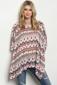 S7-3-3-T65109 IVORY PEACH BLACK TRIBAL TOP 3-1-1