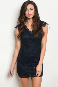 135-4-4-D09059 NAVY WITH SEQUINS DRESS 2-2-2