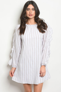 119-3-5-D42336 WHITE BROWN STRIPES DRESS 2-1-1