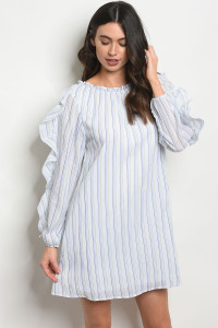 119-3-5-D42336 WHITE BLUE STRIPES DRESS 2-1-1