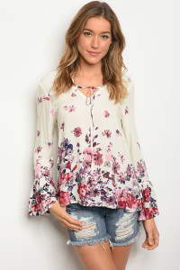 109-5-1-T23785 IVORY FLORAL TOP 2-2-2