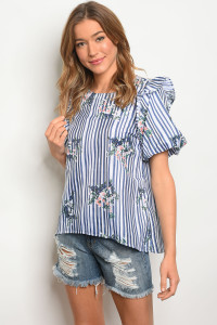 S19-11-5-T23919 WHITE NAVY STRIPES TOP 2-2-2