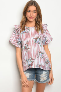 120-2-1-T23919 WHITE MAUVE STRIPES TOP 2-2-2
