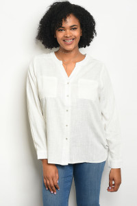 111-3-3-T23826X OFF WHITE PLUS SIZE TOP 3-2-1