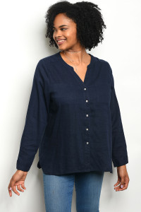 111-3-3-T23826X NAVY PLUS SIZE TOP 3-2-1