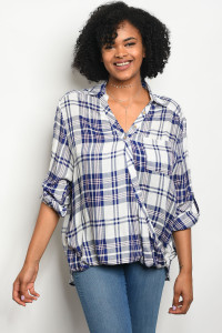 119-1-4-T23863X WHITE NAVY CHECKERED PLUS SIZE TOP 3-2-1