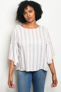 122-1-2-T23754X OFF WHITE BLUSH STRIPES PLUS SIZE TOP 3-2-1