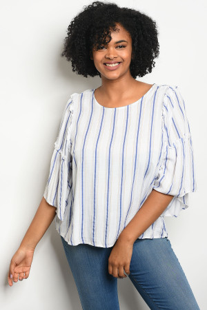 111-1-2-T23754X OFF WHITE BLUE STRIPES PLUS SIZE TOP 3-2-1