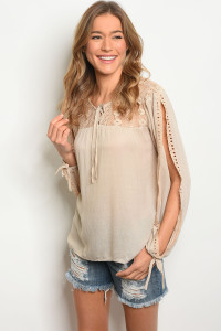 134-1-5-T23794 TAUPE TOP 2-2-2