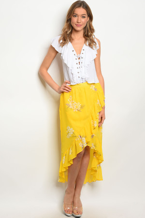 Y-B-S542329 YELLOW FLORAL SKIRT 1-1-1-1-1-1