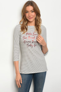 C18-B-2-T289292 IVORY BLACK STRIPES TOP 2-2-2