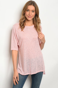 C28-B-1-T3042 PINK IVORY STRIPES TOP 2-1-2