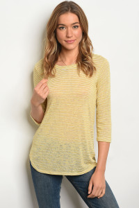 C24-B-2-T3071 MUSTARD IVORY STRIPES TOP 2-2-2