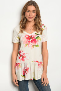 C28-A-6-T3685 IVORY FLORAL TOP 2-2-2