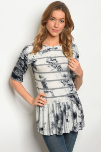 C45-B-5-T3309 IVORY BLACK TIE DYE TOP 2-2-2