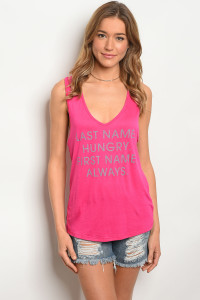"C54-B-2-T2377 FUCHSIA ""LAST NAME HUNGRY"" PRINT TOP 2-2-2"