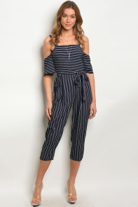114-2-3-J6319 NAVY WHITE JUMPSUIT 3-2-1