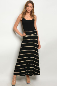 C12-A-1-S11862 BLACK CREAM STRIPES SKIRT 1-2-1