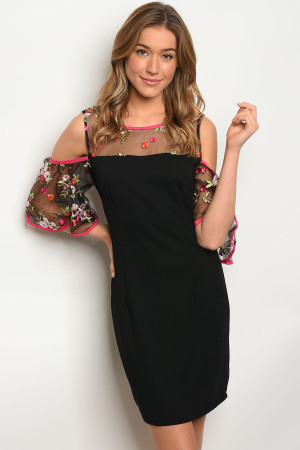 114-2-1-D8356 BLACK FLORAL EMBROIDERY DRESS 2-2-2