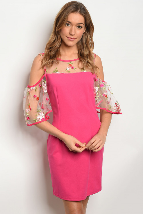 S25-2-3-D8356 FUCHSIA FLORAL EMBROIDERY DRESS 2-2-2