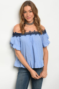 114-2-2-T31698 BLUE WHITE STRIPES OFF SHOULDERS TOP 2-2-2