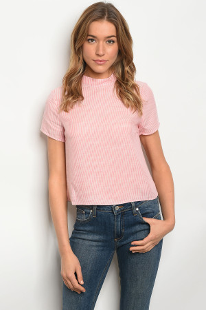 S25-2-2-T31866 PINK WHITE STRIPES TOP 2-2-2