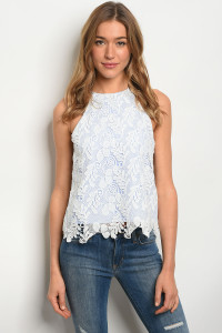 136-4-3-T15400 WHITE BLUE STRIPES TOP 3-2-1